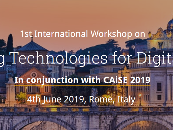 Call for Papers: Key Enabling Technologies for Digital Factories Workshop at CAiSE 2019